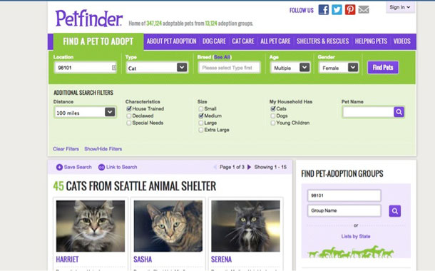 The Petfinder.com home page with a search function revealed under the Find a Pet to Adopt menu.
