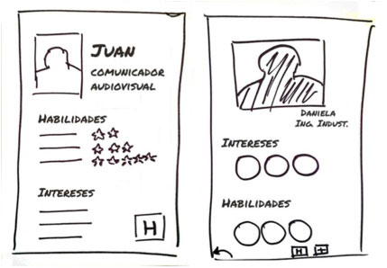 Hand-drawn, simple wireframes.