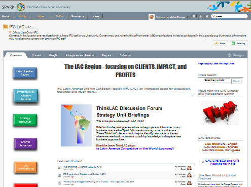 Homepage of the Latin America and Caribbean department's collaboration site.