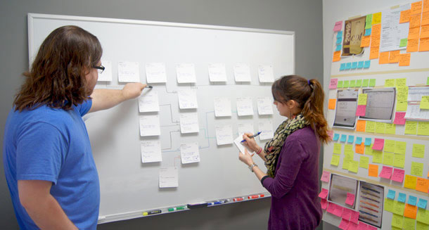 Two people looking at a DoGo Map taped to a whiteboard.