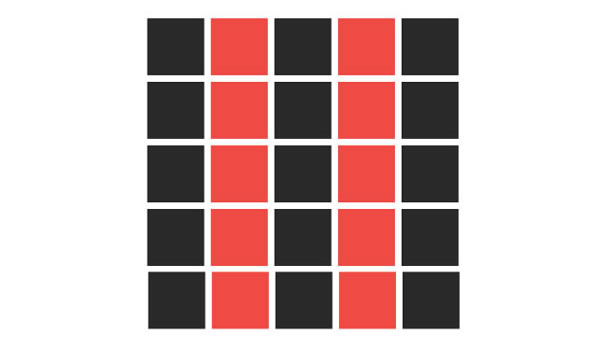 Alternating columns of red and black squares