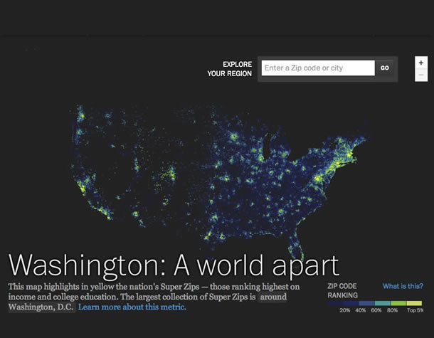 Washington: A World Apart. Map of the Unites States that highlights the nation's Super Zips, the zip codes that have the highest rankings in income and college education. The largest collection of Super Zips is around Washington, D.C.
