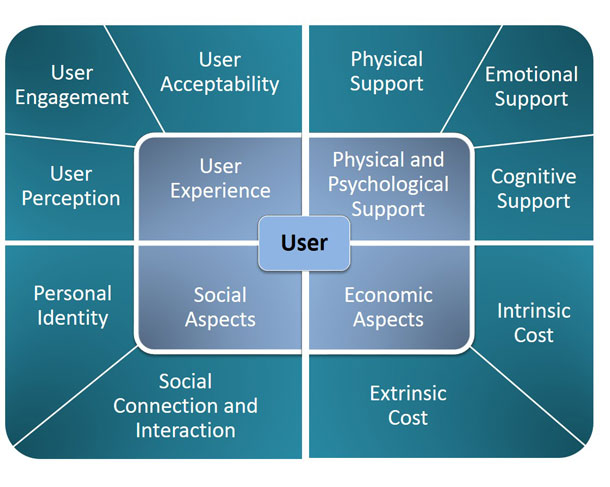 A diagram of the framework. Surrounding the User at the center of the diagram, there are four quadrants that reflect the themes and subthemes described in great detail below.