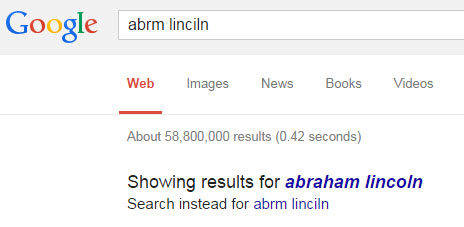 Message: Showing results for Abraham Lincoln. Search instead for  abrm linciln