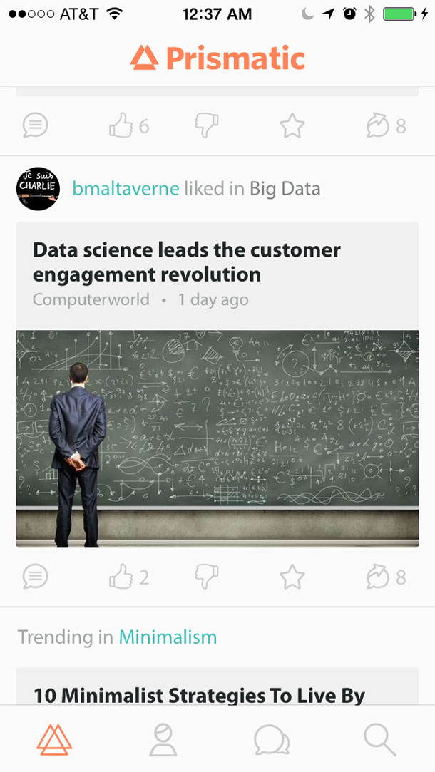 """Screen shot showing two stories, one with a link showing a """"like"""" and the other showing a """"trending"""" notification."""