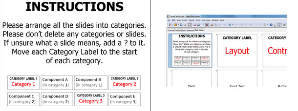 Screenshot of the instructions and the slide sorter.