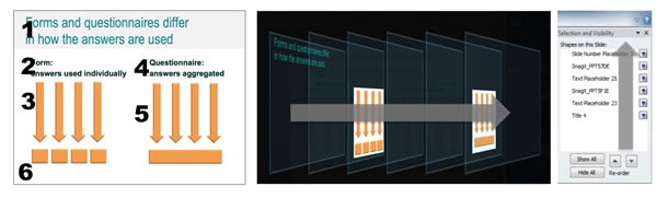 Three views of the reading order controls for a slide.