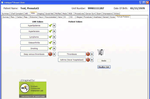 Screen showing a design with check marks for selected mediations and red question marks for others. Duplicates are in a trash can.