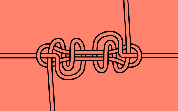 A line drawing of a complex knot pattern