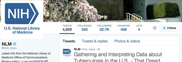 Screen shot showing the NLM's Twitter statistics of 4,829 tweets, and 32.7K followers.