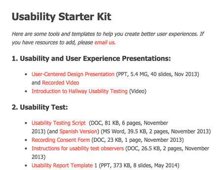 Screenshot showing part of the list of resources starting with usability and user experience presentations. See the website for the full list.