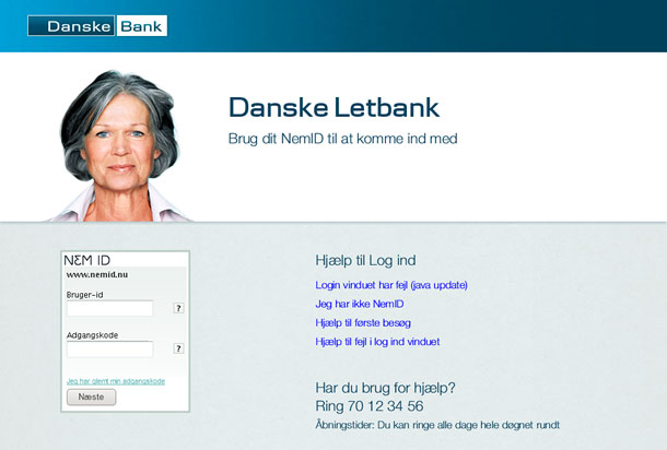 Figure 1. The first version of the prototype showed a set of Help links beside the logon box on the left. During the first round of usability testing, it was difficult for some of the test participants to ignore the links and focus on logging on. (in Danish)