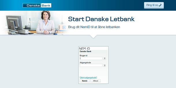 Figure 2. After the first round of usability testing, the links on the right in Figure 1 were removed, which helped participants focus on logging on. The Call Us button in the top right corner gives access to customer support if users need it. (in Danish)