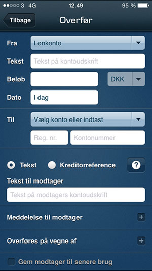 Screen shot showing the mobile form.