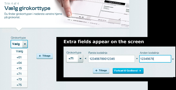 Screen image showing the extra fields that appear.