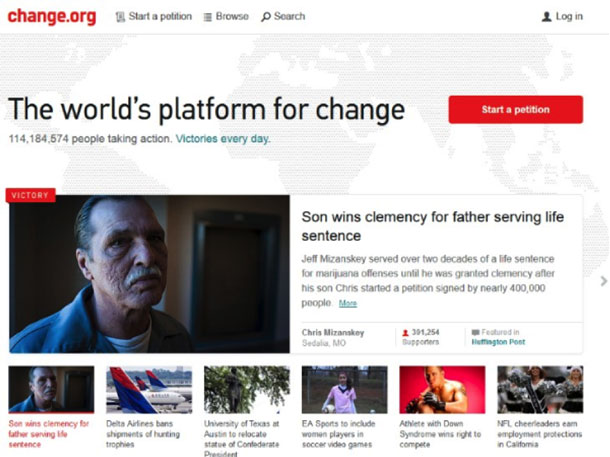 Screenshot of the Change.org website showing the home page with several different petitions.