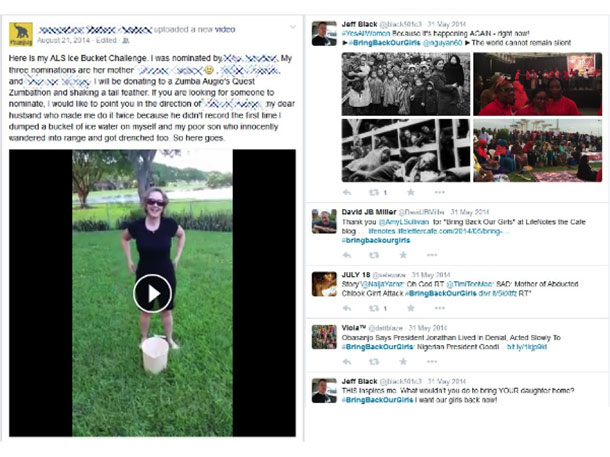Screenshot of the Facebook and Twitter websites showing posts and tweets.