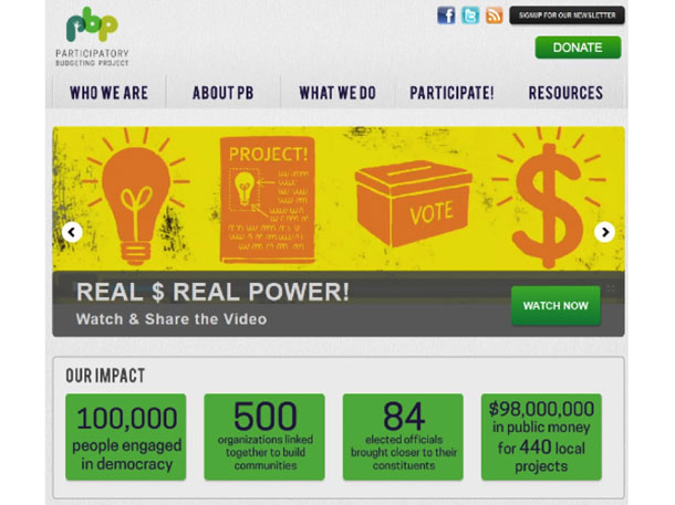 Screenshot of the Participatory Budgeting website showing the home page