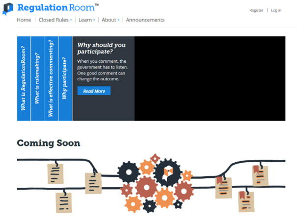 Screenshot of the Regulation Room website showing the overview of the process.