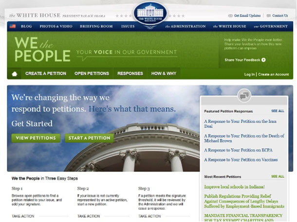 Screenshot of the We the People website showing the home page and steps to participate.