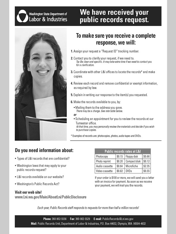 Flyer with a list of steps and costs