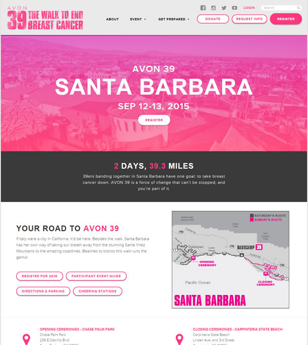 The page includes main buttons for registering, participant event guide, directions and parkingparking, and cheering stations. The page content highlights a map with key locations in the event marked.