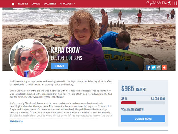 The page has a simple top menu with Home, Register, Volunteer, and My Account.