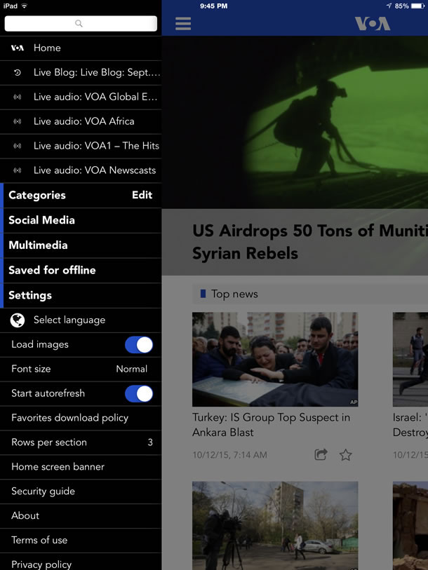 Screenshot of the VOA News app, the side navigation is open with categories of stories, but also user preferences like loading images, font size, and other layout options.