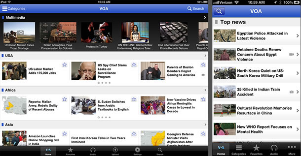 The picture shows the old version of the VOA News application on an iPad and iPhone.