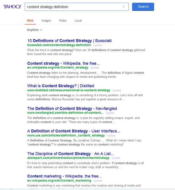 Yahoo! search results showing links to many definitions of content strategy.