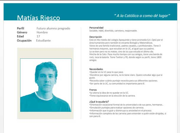 Photograph and text describing the persona in Spanish.