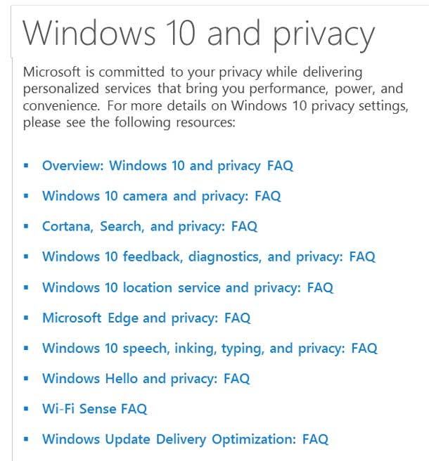 This example of a Windows 10 help topic begins with a short statement, then list of ten links to FAQs.