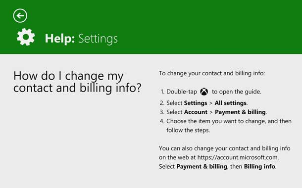 Step-by-step instructions describe changing contact and billing info on Xbox One.