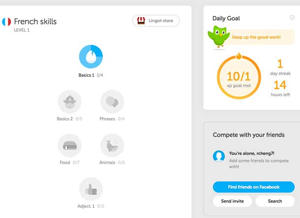 A screenshot of the Duolingo website shows that the design helps engage learners in self-monitoring and self-control their mastery of a task, as well as their goal and motivation.