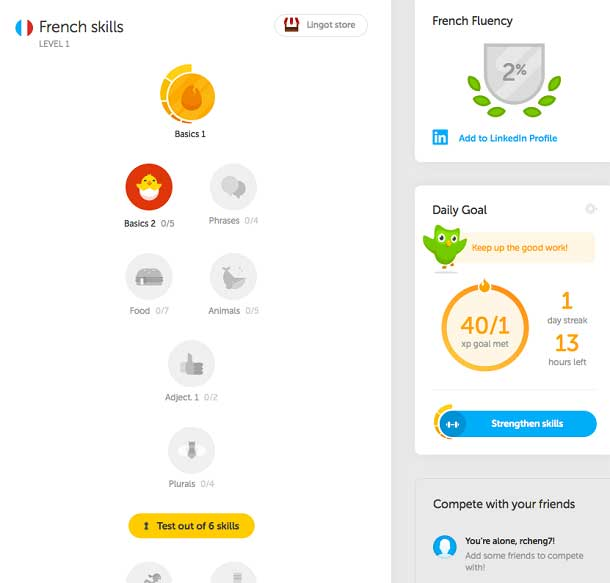 A screenshot of the Duolingo website shows that the progress bar, mastery color, and fluency score assist learners in evaluating how well they performed and whether they met the standard, which in turns adjusting their strategies and goals for the next phase of self-regulated learning.