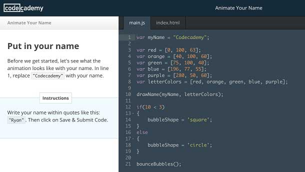 A screenshot of the Codecademy website shows an introductory challenge that encourages students to animate their name and see what that computer code would look like.