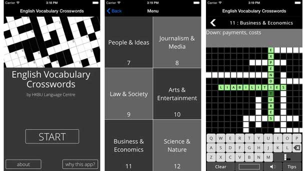 Three screens from a mobile app: English Vocabulary Crosswords A menu screen shows 6 categories (People & Ideas, Journalism & Media, Law & Society, Arts & Entertainment, Business & Economics, Science & Nature), another a simple crossword in the Business and Economics category.