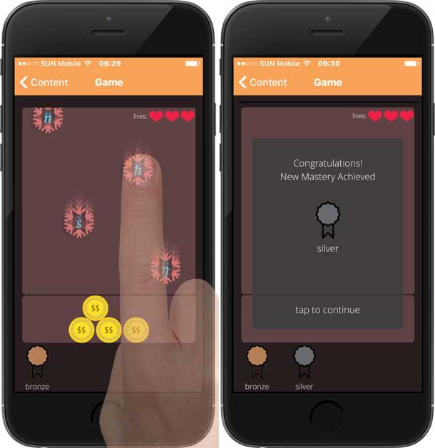 The interface of a game in the Interactive Phonetics mobile app, with a finger tapping onto a falling phonetic alphabets