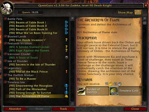 Alt text: A screen showing a list of fantasy quests (left) and individual quest description (right) to be completed in World of Warcraft