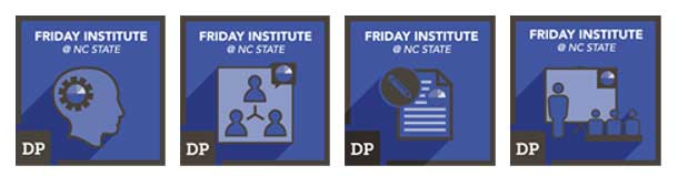 Images of the badges, with the name of the Friday Institute and an icon for the badge name.