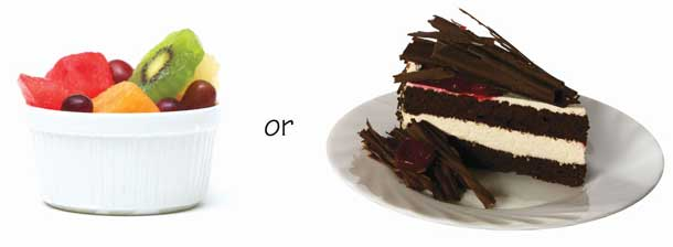 A choice of fruit salad or cake
