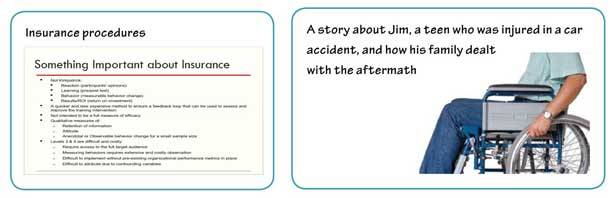 A comparison of a text-heavy slide about insurance procedures compared to a story about a family dealing with their teenage son's accident.