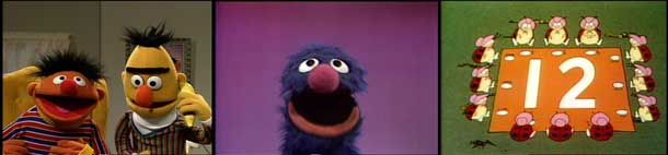3 Sesame Street scenes – a: Ernie and Bert talking on a banana phone; b: Grover singing; c: 12 Ladybugs arranged around a number 12.