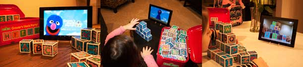 3 photos of a child playing with Grover's Block Party: one of Grover on the tablet screen, one with child arranging blocks, and one with child and blocks represented on the tablet screen.