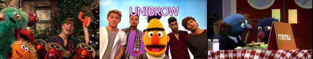 """3 Sesame Street scenes – a: Singer from Feist holding the number 4; b: Band One Direction holding letter U with Bert and word """"unibrow""""; c: Grover Waiter delivering food at a restaurant."""