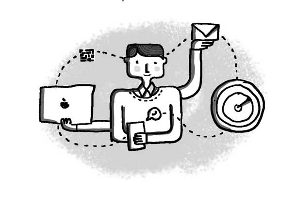 A young worker surrounded by a Mac laptop, clock, smartphone, and an envelope depicting email.