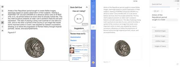 Two screens. On the left, a reading about a silver coin that is a portrait of Julius Caesar. On the right, the self-evaluation appears next to the text. It is multiple choice with 4 choices.