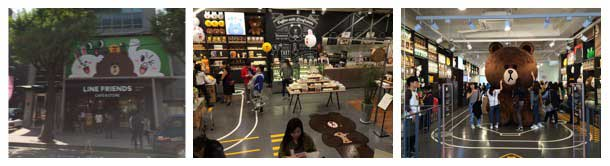 Three photos show the (a) outside of the store with photos of the characters, (b) a larger than life plush toy Brown, and (c) the café that sells character-shaped cookies and deserts, with the character Brown painted on the ground
