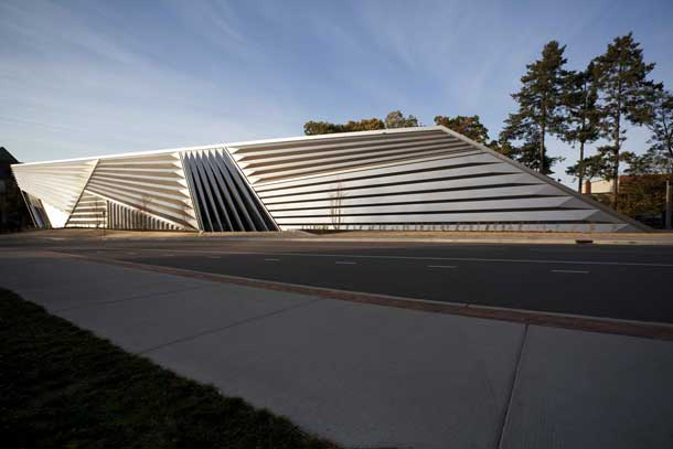 The Broad Art Museum. Asymmetrically architected building with metallic siding.