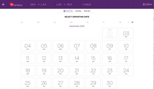 Select a departure date. Calendar page from the booking flow